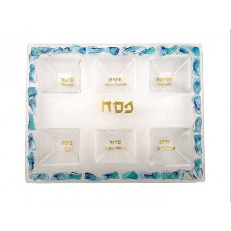 Blue Shade Glass Seder Plate by Doris