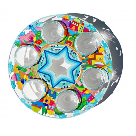 Vibrantly Colored Seder Plate by Joy Art