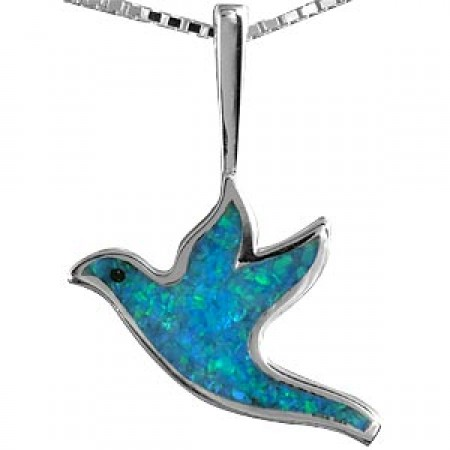 Silver and Opal Dove Pendant