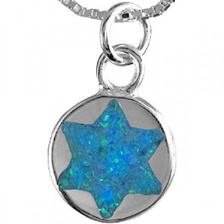 Silver and Opal Magen David Pendant