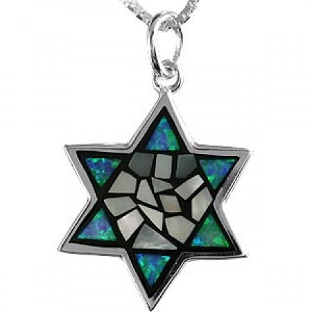 Silver, Mother of Pearl and Opal Magen David Pendant