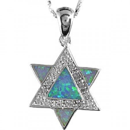 Magen David Pendant with Silver Triangle Overlaid On Triangular Shaped Opal