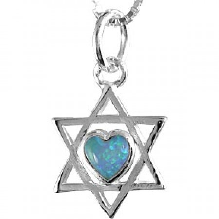 Silver and Heart Shaped Opal Magen David Pendant
