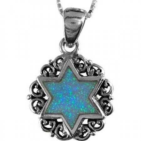 Opal Magen David Surrounded by Wreath of Interwoven Silver