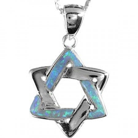 Magen David Pendant of Interwoven Silver and Opal Triangles