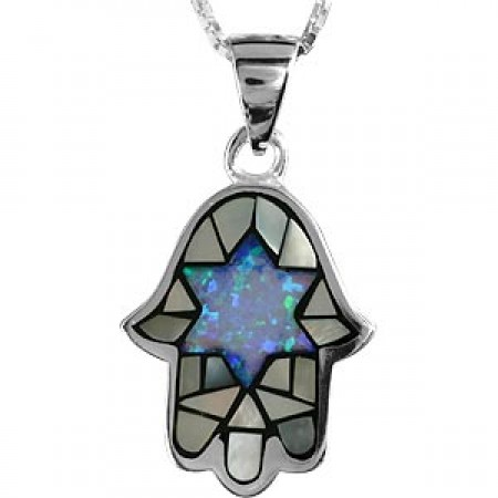 Silver, Opal and Mother of Pearl Hamsa Pendant
