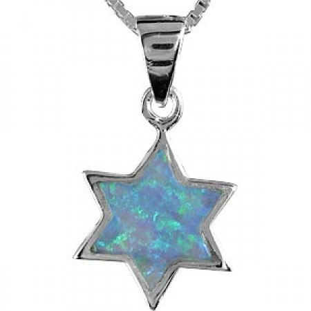 Silver and Opal Star of David Pendant