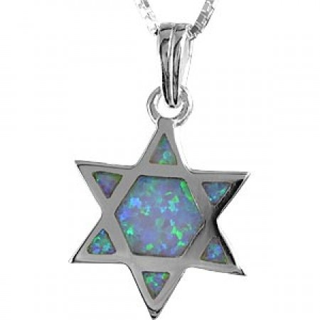 Large Silver and Opal Magen David Pendant
