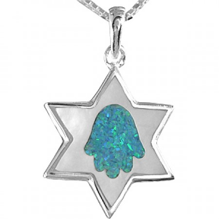 Silver, Mother of Pearl and Opal Stone Magen David Pendant