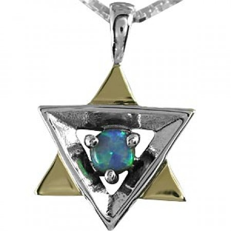 Gold, Silver and Opal Magen David Pendant