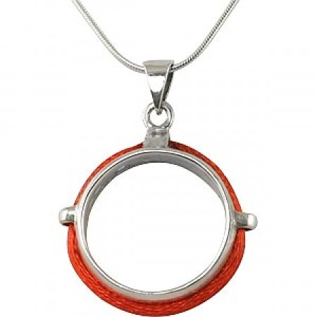 Silver Ring Pendant with Red String