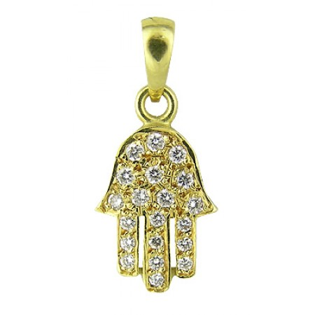 18K Gold Hamsa Hand Pendant with Diamonds