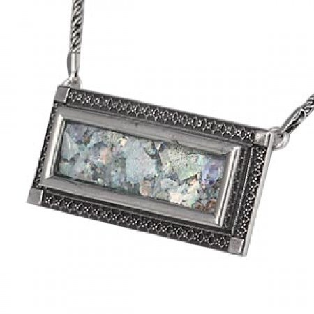 """Silver Filigree """"Picture Frame"""" Roman Glass Necklace"""