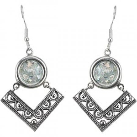 Stunning Silver Filigree Roman Glass Earrings