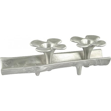 Flower Candle Holders in Wooden Trough