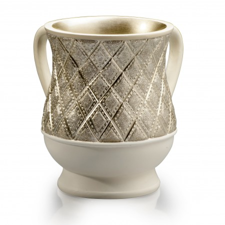 Acrylic Gold and Ivory with diamonds plated  wash cup
