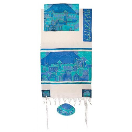 Yair Imanuel Jerusalem Gate In Blue Tallit