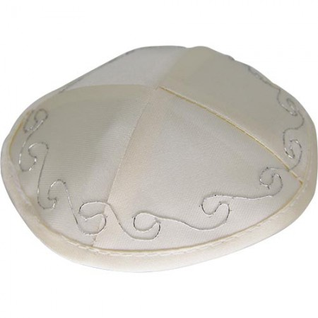 Satin Silver Embroidered Baby Kippah