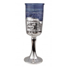 Silver & Blue Glass Kiddush Cup
