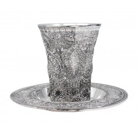 Silver Flower Design Kiddush Cup