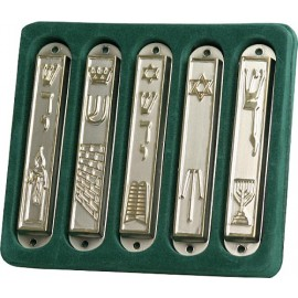 Elegant Five Piece Metal Mezuzah Set
