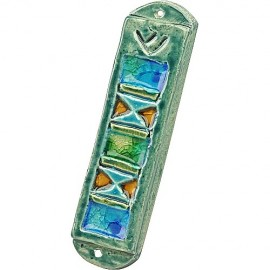Multicolored Glazed Ceramic Mezuzah