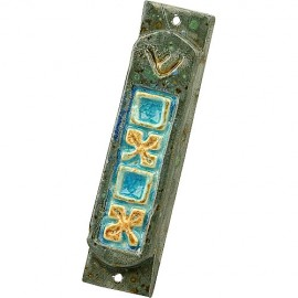 Engraved Multicolored Ceramic Mezuzah