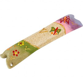 Children's Sandstone Mezuzah with Flowers and Butterflies