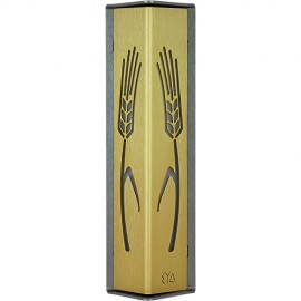Gold-and-Charcoal Stalks of Wheat Mezuzah by Shraga Landesman