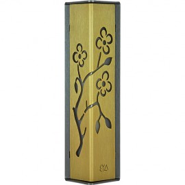 Gold-on-charcoal Almond Tree Mezuzah by Shraga Landesman