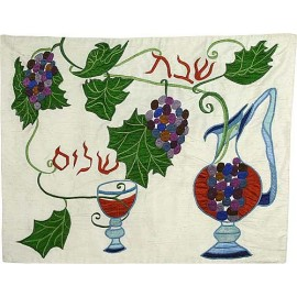 Appliqued Grapes Silk Challah Cover