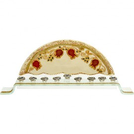 Pomegranate Painting Glass Menorah By Eretz Husyt