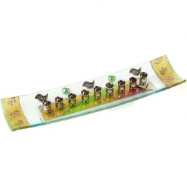 Lovely Earth-tone Fused Glass Menorah