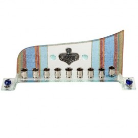 Wave Glass theme Hanukkah Menorah