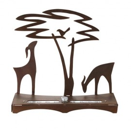 Deer and Acacia Tree Chanukah Menorah by Shraga Landesman