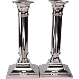 Sleek Silver-plated Shabbat Candlesticks