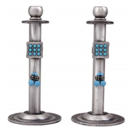 Round Pewter Shabbat Candlesticks with Aaron's Breastplate Stones