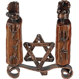 Copper and Olive Wood Shabbat Shalom Candle Holders by Rami Zamir
