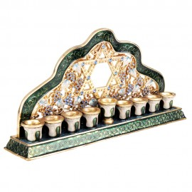 Enamel Gold and Green Hanukkah Menorah