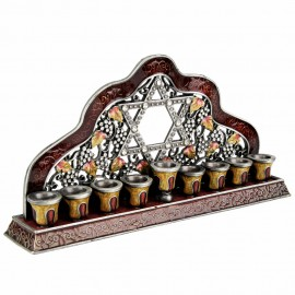 Enamel Hanukkah Menorah Colored With Reddish, Brownish and Gold Shades