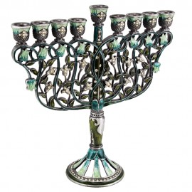Enamel Exquisite Flower Design Hanukkah Menorah