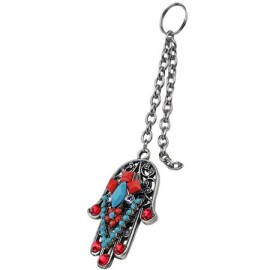 Turquoise and Red Key Chain