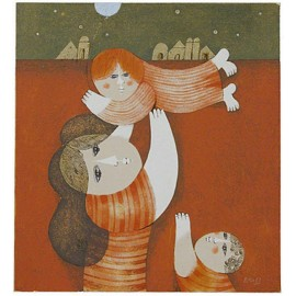 Playing with the Children  12.25x13 / 31x33 cm  Serigraph