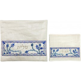 Blue on White Pomegranate Tallit & Tfillin Bag Set by Yair Emanuel
