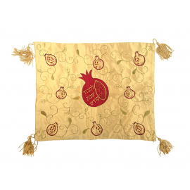 Gold Challah Cover with Pomegranates Design