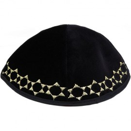 Navy Blue Velvet Kippah with Golden Jewish Stars