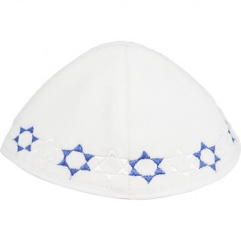White Velvet Kippah with Blue and White Stars