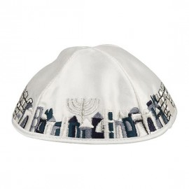 Blue and White Satin Kippah With Jerusalem Scene