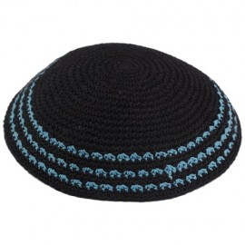 Black Knitted Kippah Turquoise Stripes