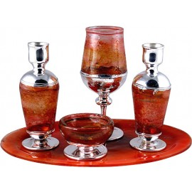 Silver and Brown Glass Kiddush Set